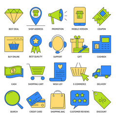 Online shopping icon set in colored line style vector