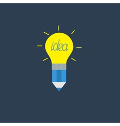 Pencil with yellow shining light bulb lamp Idea vector