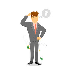 Pensive businessman in problem solving vector