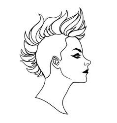 Punk girl with mohawk haircut vector