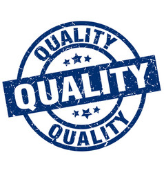 Quality blue round grunge stamp vector