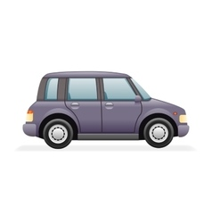 Retro Family Minivan Car Icon Isolated Realistic vector
