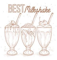 Scetch set milkshakes vector image
