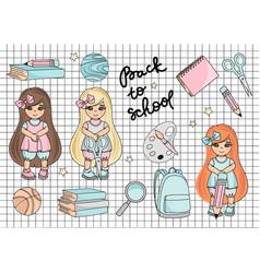 school girl autumn set vector image