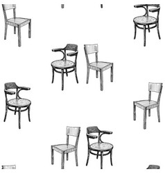 seamless pattern sketches old chairs vector image
