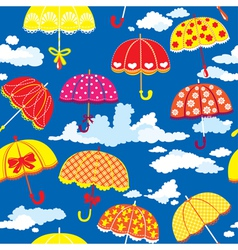 seamless pattern with colorful umbrellas and cloud vector image vector image