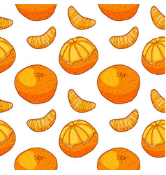 seamless pattern with tangerine and slices hand vector image