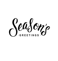 Seasons Greetings Calligraphy Greeting Card Black vector image