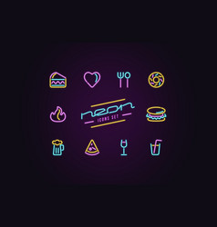 Set fast food icons in form neon lamps vector
