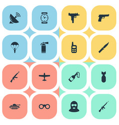 Set of 16 simple terror icons can be found vector