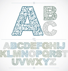 Set of beautiful capital letters decorated with vector
