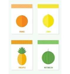 set of cards with fruits and berries vector image