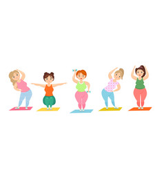 set of cute overweight ladies vector image