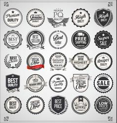 Set retro vintage labels and badges 02 vector