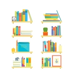 Shelves with Books and Different Things Set vector image