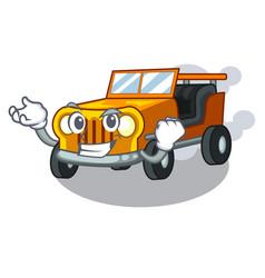Successful jeep car in shape mascot vector