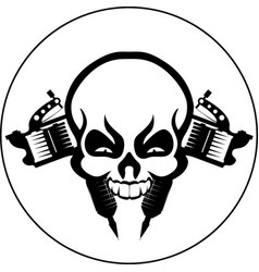 tattoo studio emblem skull machines icon vector image