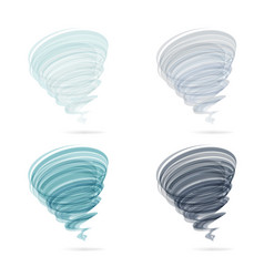 tornado swirl icon set isolated on white vector image
