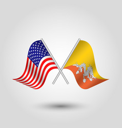 two crossed american and bhutanese flags vector image