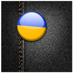 Ukraine Flag on Black Denim vector image vector image