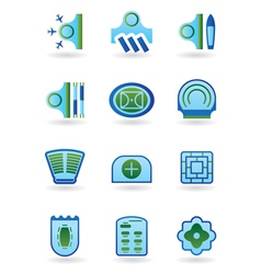 Urban public buildings icons set vector image