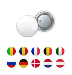 white badge on pin and flags vector image