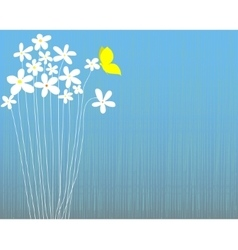 white flowers and butterfly vector image