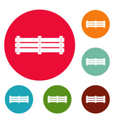 wide fence icons circle set vector image