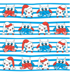 winter owls seamless pattern vector image