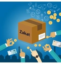 zakat giving money to the poor islam concept vector image