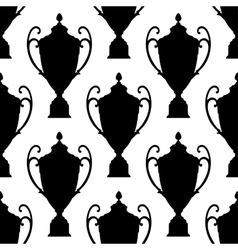 Black silhouette trophy cup seamless pattern vector image vector image