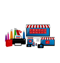online shopping concept of electronic devices set vector image vector image