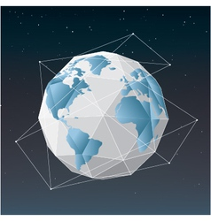 White earth globe geometrical background vector image vector image