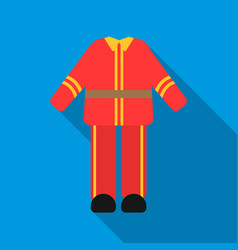 firefighter uniform icon flat single silhouette vector image