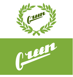 hand drawn lettering logo green vector image