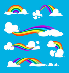 rainbow and clouds in flat style vector image