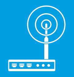 Wifi router icon white vector