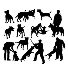 Dog and People Activity Silhouettes vector image vector image