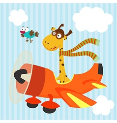 giraffe bird on airplane vector image