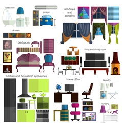 House remodeling infographic set flat interior vector