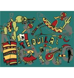 mexico doodles vector image