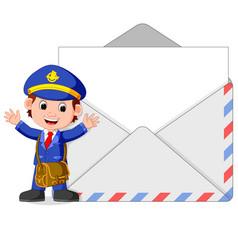 postman cartoon with big letter vector image
