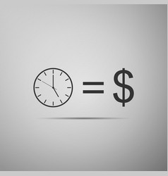 time is money sign icon money is time vector image vector image