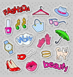 woman fashion stickers badges and patches vector image vector image