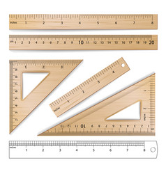 wooden rulers set metric imperial vector image vector image