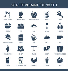 25 restaurant icons vector image