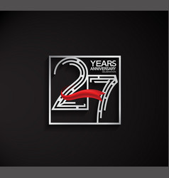 27 years anniversary logotype with square silver vector