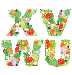 Alphabet of vegetables VWUX vector image