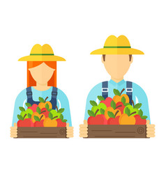 apple picking logo man and woman with apple vector image