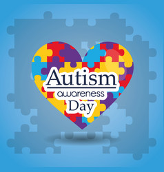 Autism awareness day puzzles shape heart medical vector